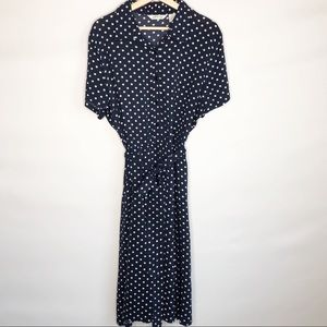 ORVIS Classic Shirtdress Navy/White Polka-Dots XL
